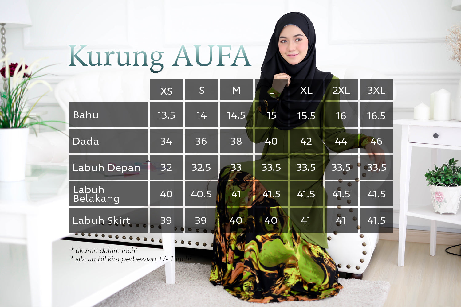 Kurung AUFA measurement chart