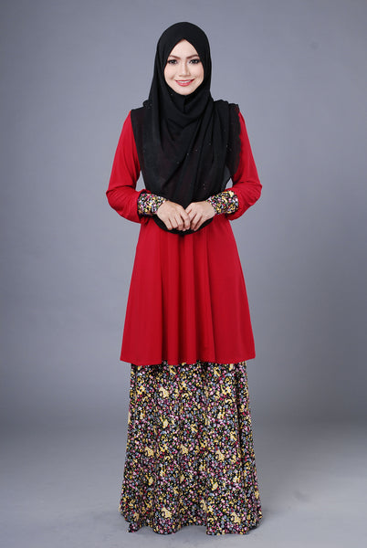 SR039F - RAISYA (Top+Skirt) - Butik NURSAFIA