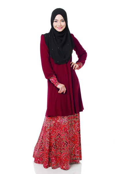 SR056F - RAISYA (Top+Skirt) - Butik NURSAFIA