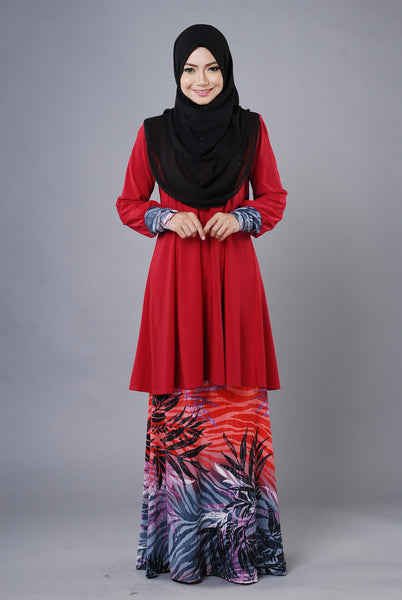 SR030F - RAISYA (Top+Skirt) - Butik NURSAFIA