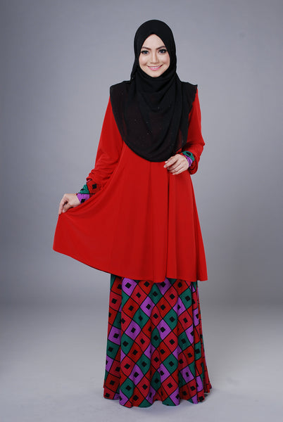 SR043G - RAISYA (Top+Skirt) - Butik NURSAFIA