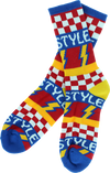 Bro Style Lightening Bolt Crew Socks-blue 1 Pair