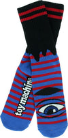Toy Machine Sect Eye Stripe Crew Socks Red/Blue/Black 1 Pair