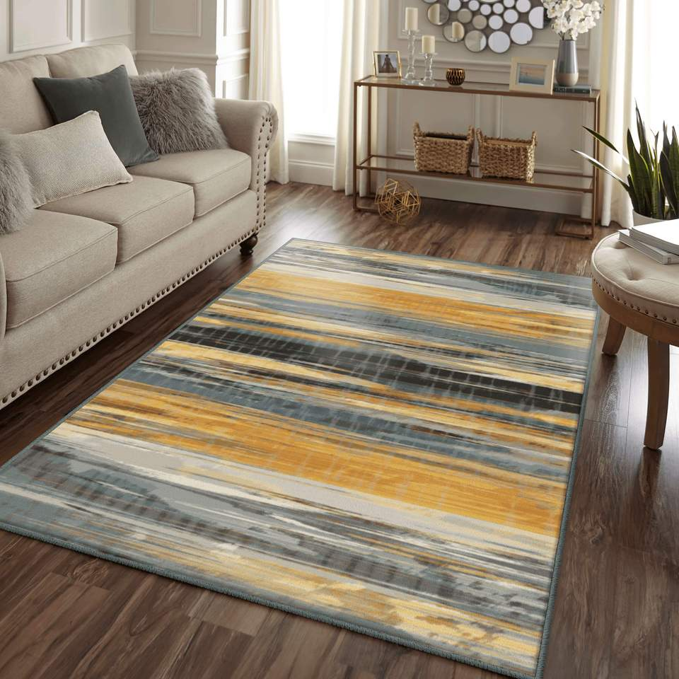 Dhun Castaway Gray & Orange Area Rug, an industrial area rug perfect for the Fall.