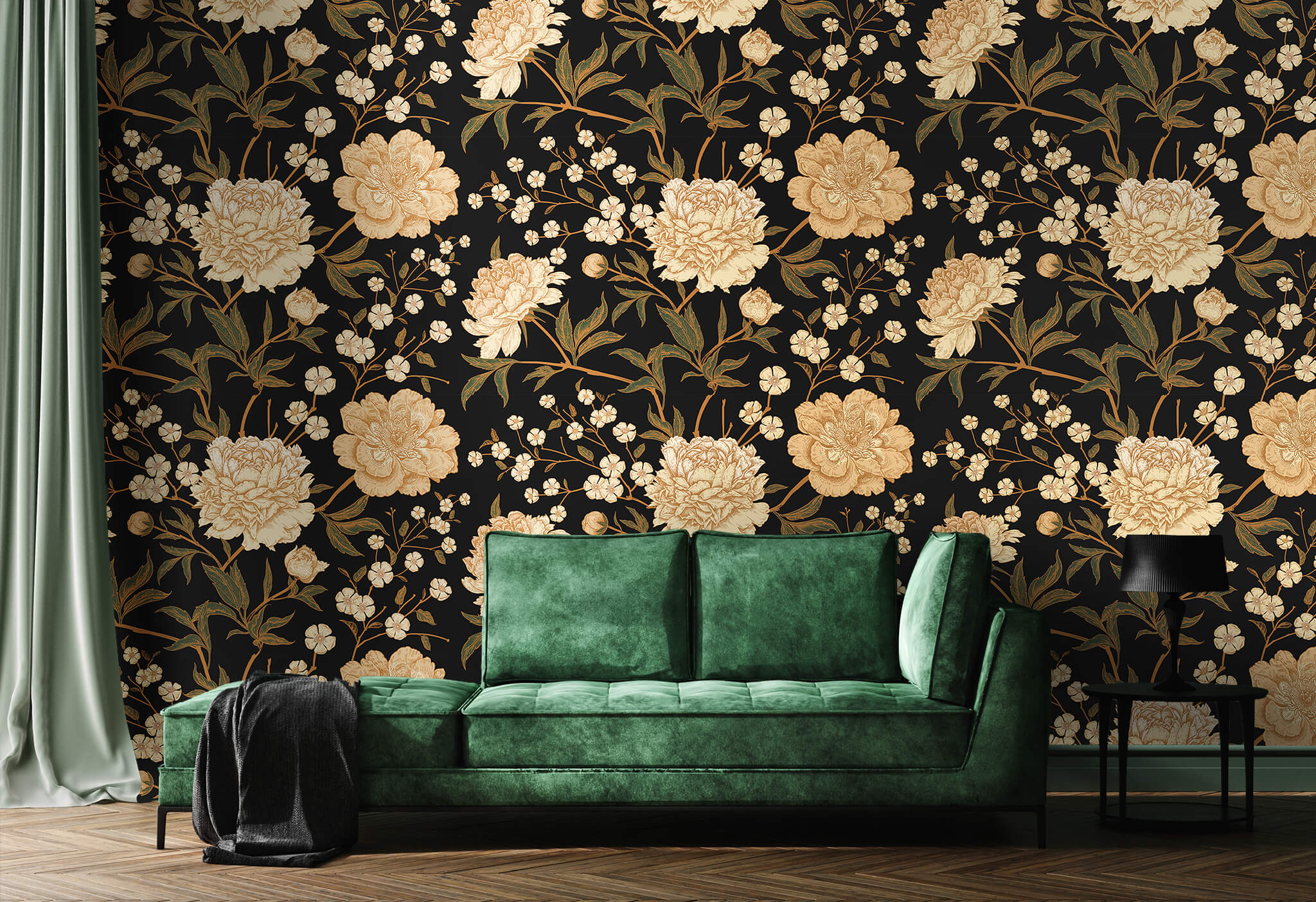 Using modern floral wallpaper with bold colors is great for the year 2021.