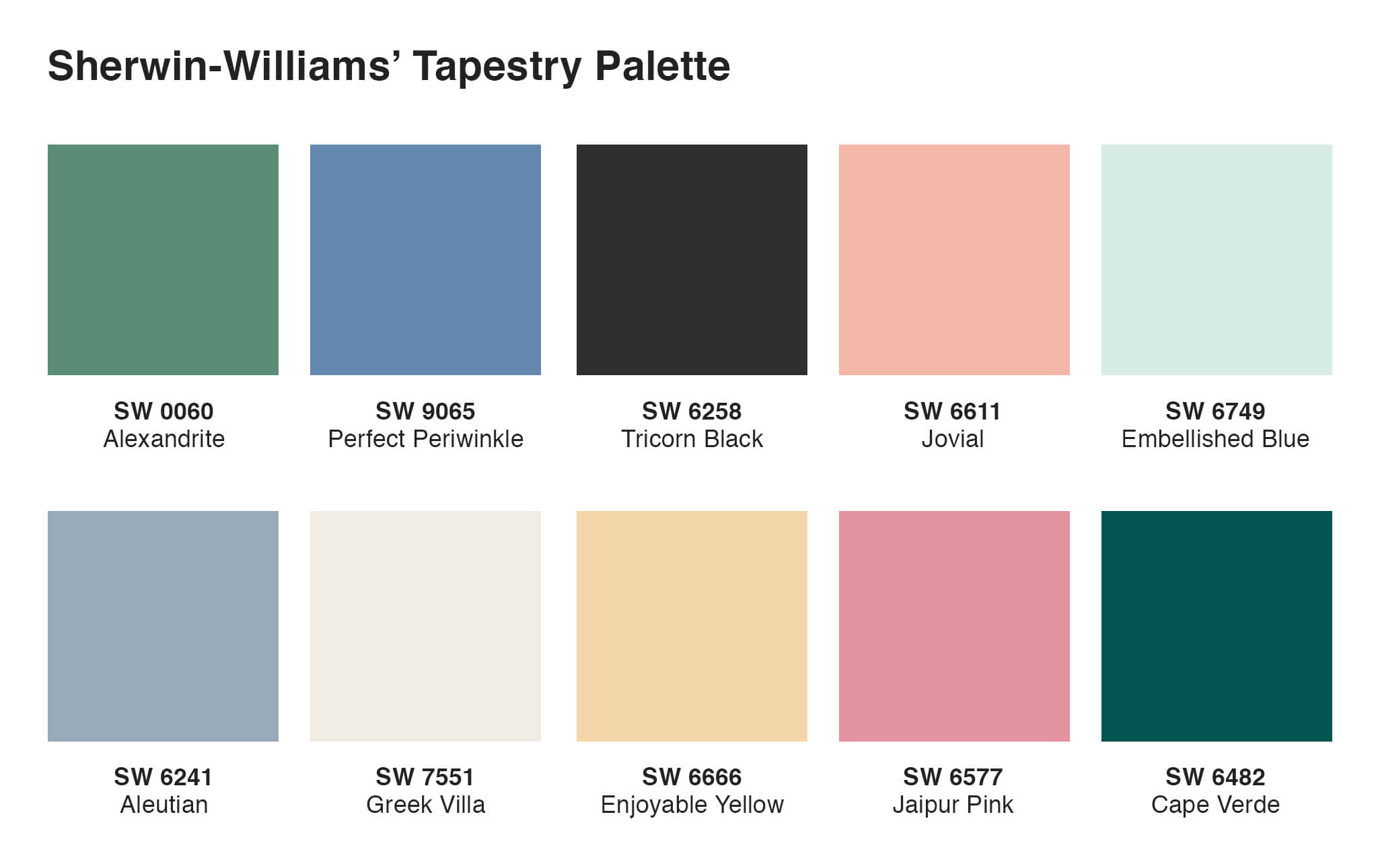 Sherwin-Williams' Tapestry Color Palette