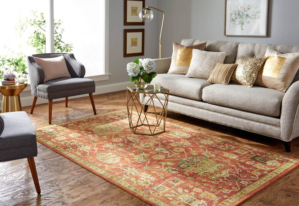 Technicolor Lantana Orange Area Rug is perfect if you need an orange area rug with style and luxury. Covered by Surfaces can supply you with all the large area rugs you need!