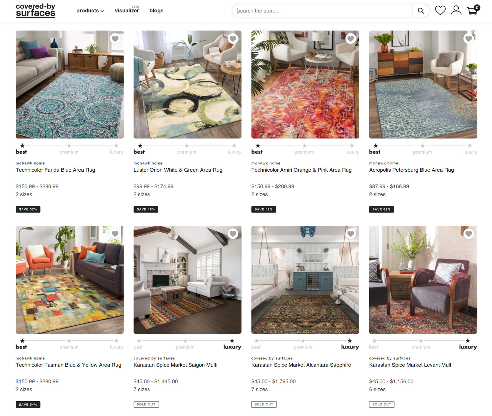 coveredbysurfaces website for area rugs of all shapes and sizes like 8x10, 8x11, or square area rugs, circle area rugs, etc.