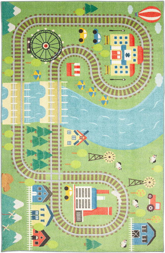Technicolor Play Time Green Area Rug