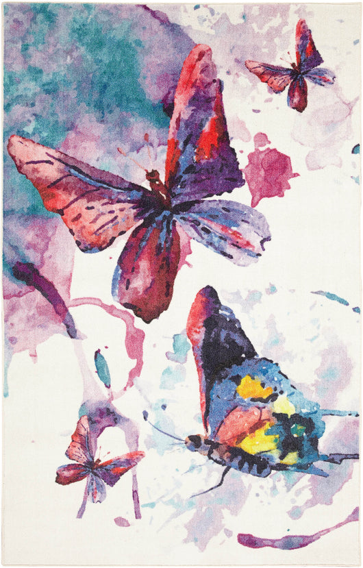 Technicolor Butterfly White & Purple Area Rug