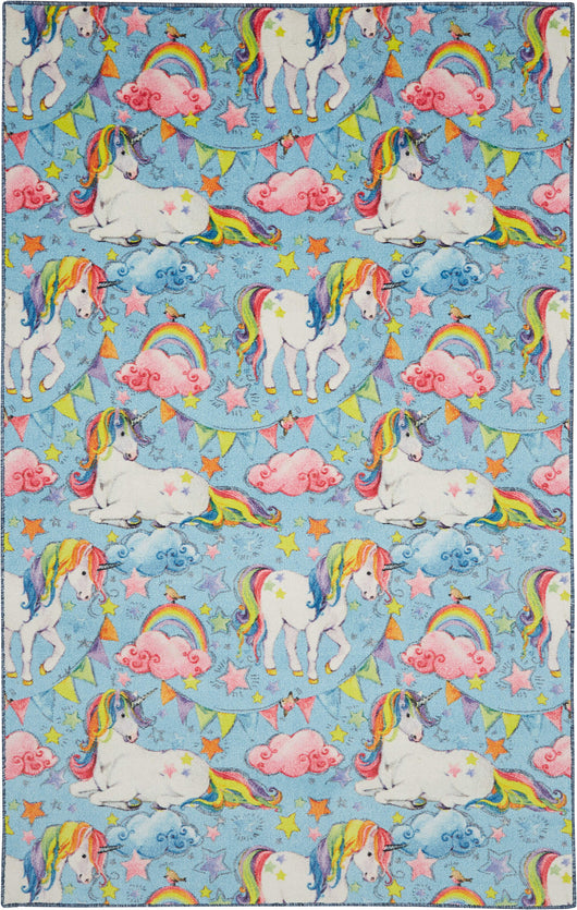 Technicolor Unicorn Blue Area Rug