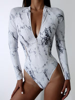 Load image into Gallery viewer, Zipper One Piece Long Sleeve Swimsuit