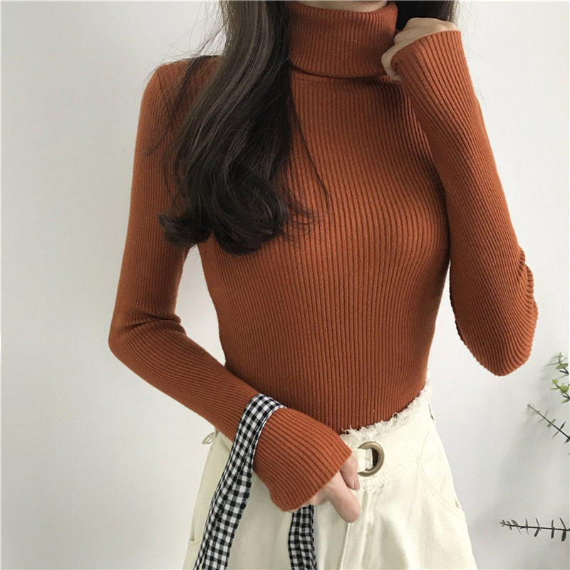 Knitted Ribbed Turtleneck Pullover