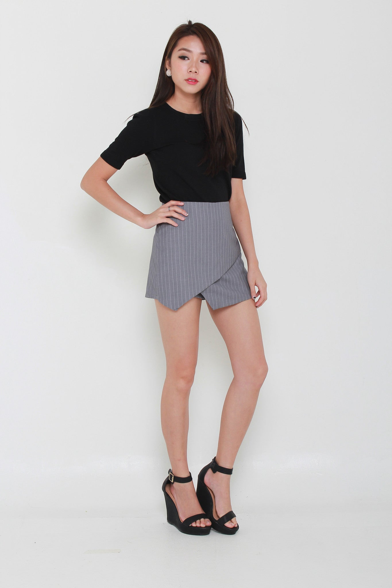 Hailee Pin Stripes Skorts in Light Grey
