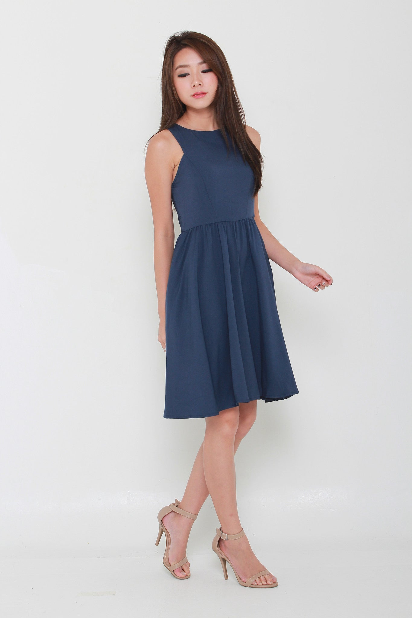 Kacey Cut In Midi Dress in Navy