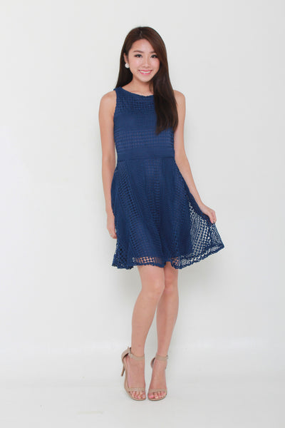 Laura Crochet Skater Dress in Navy Blue