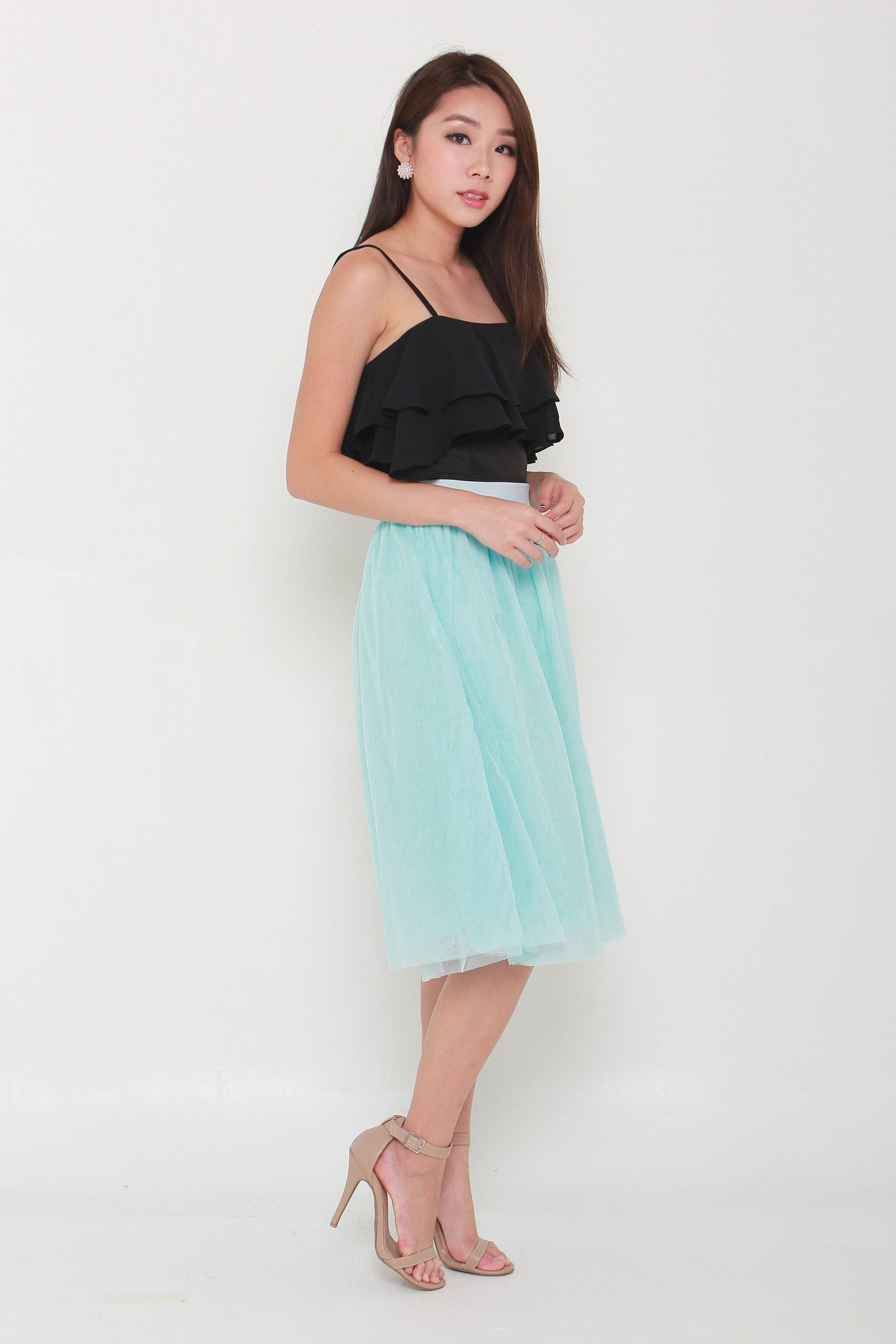 Belle Tulle Midi Skirt in Light Blue