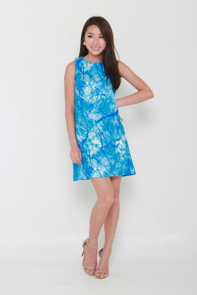 Ocean Abstract Dress in Blue