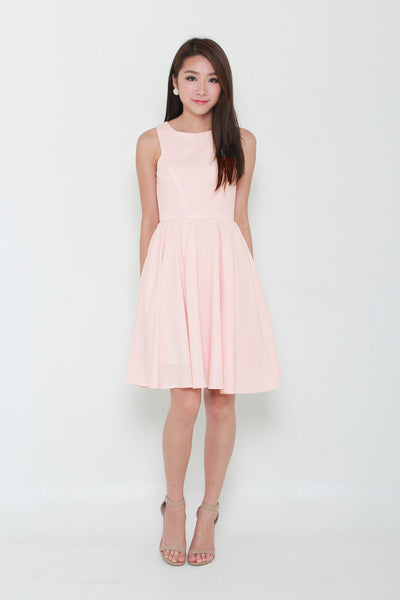 Kacey Cut In Midi Dress in Pink