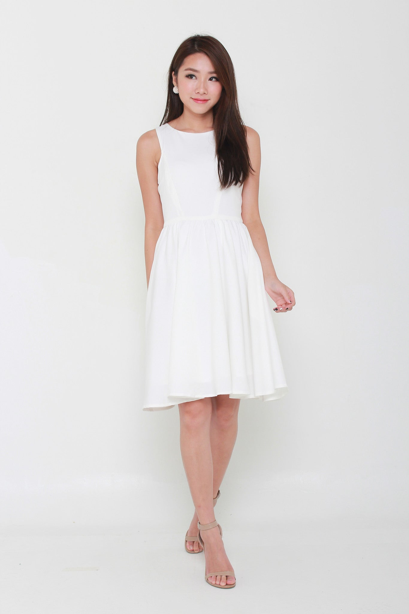 Kacey Cut In Midi Dress in White