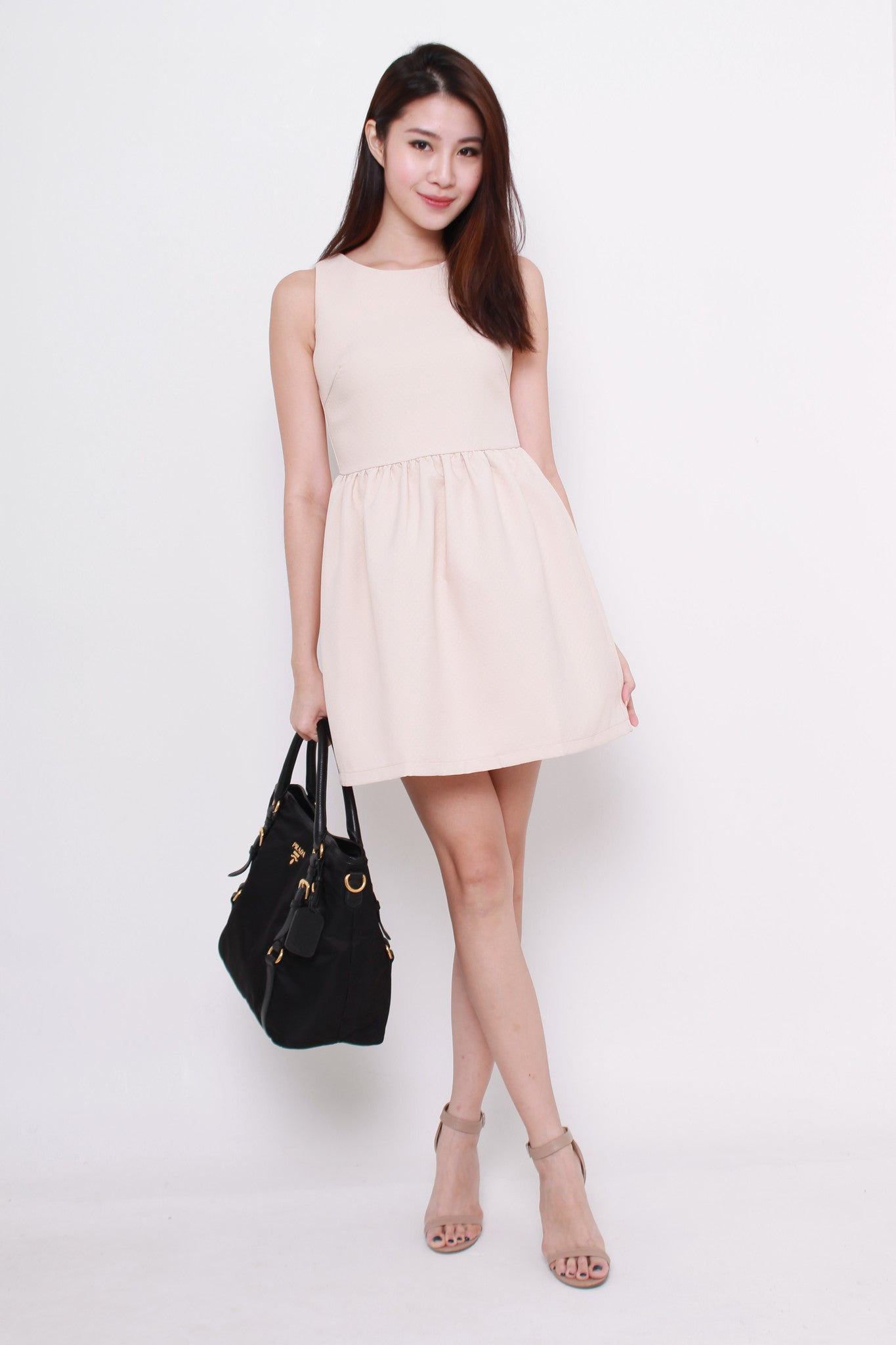 Vera Quilt Embossed Skater Dress in Nude