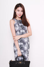 Load image into Gallery viewer, Yale Cut In Dress in Palm Prints (Grey)