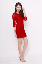 Load image into Gallery viewer, *NASSA* Taylor Lace Dress in Red
