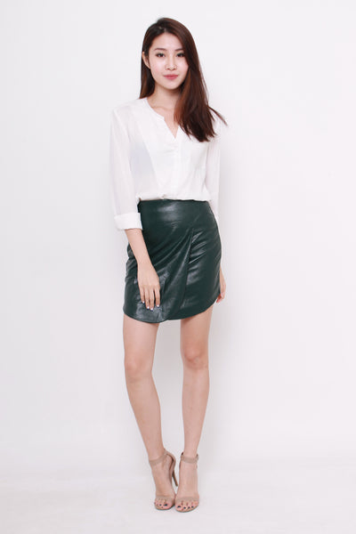 Vivien Curve Layer Skirt in Green