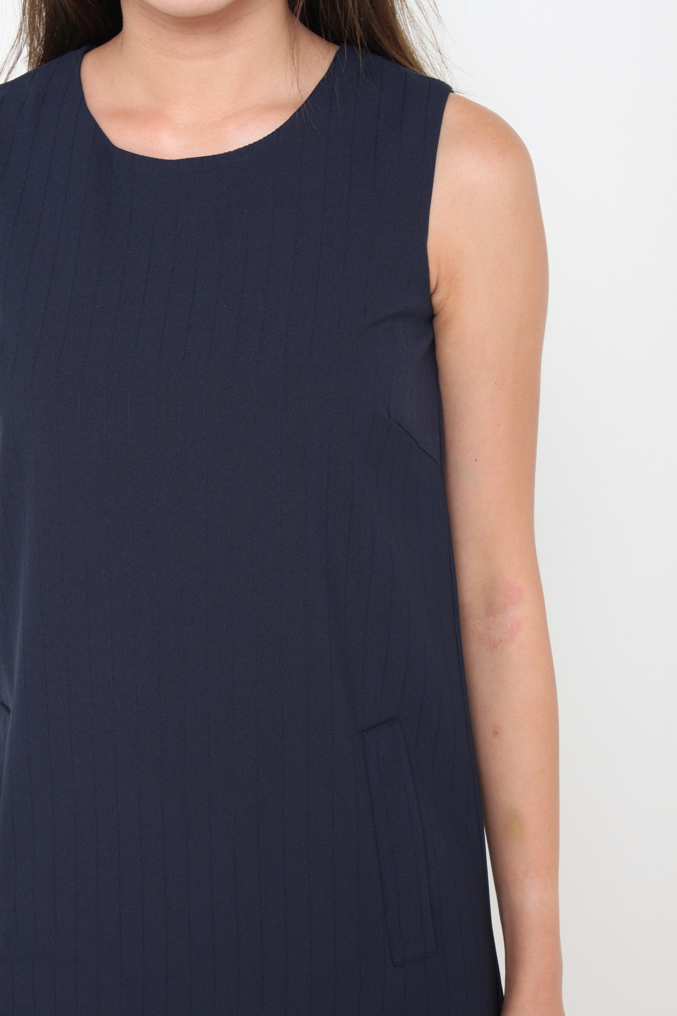 Maris Stripe Emboss Pocket Shift Dress in Blue
