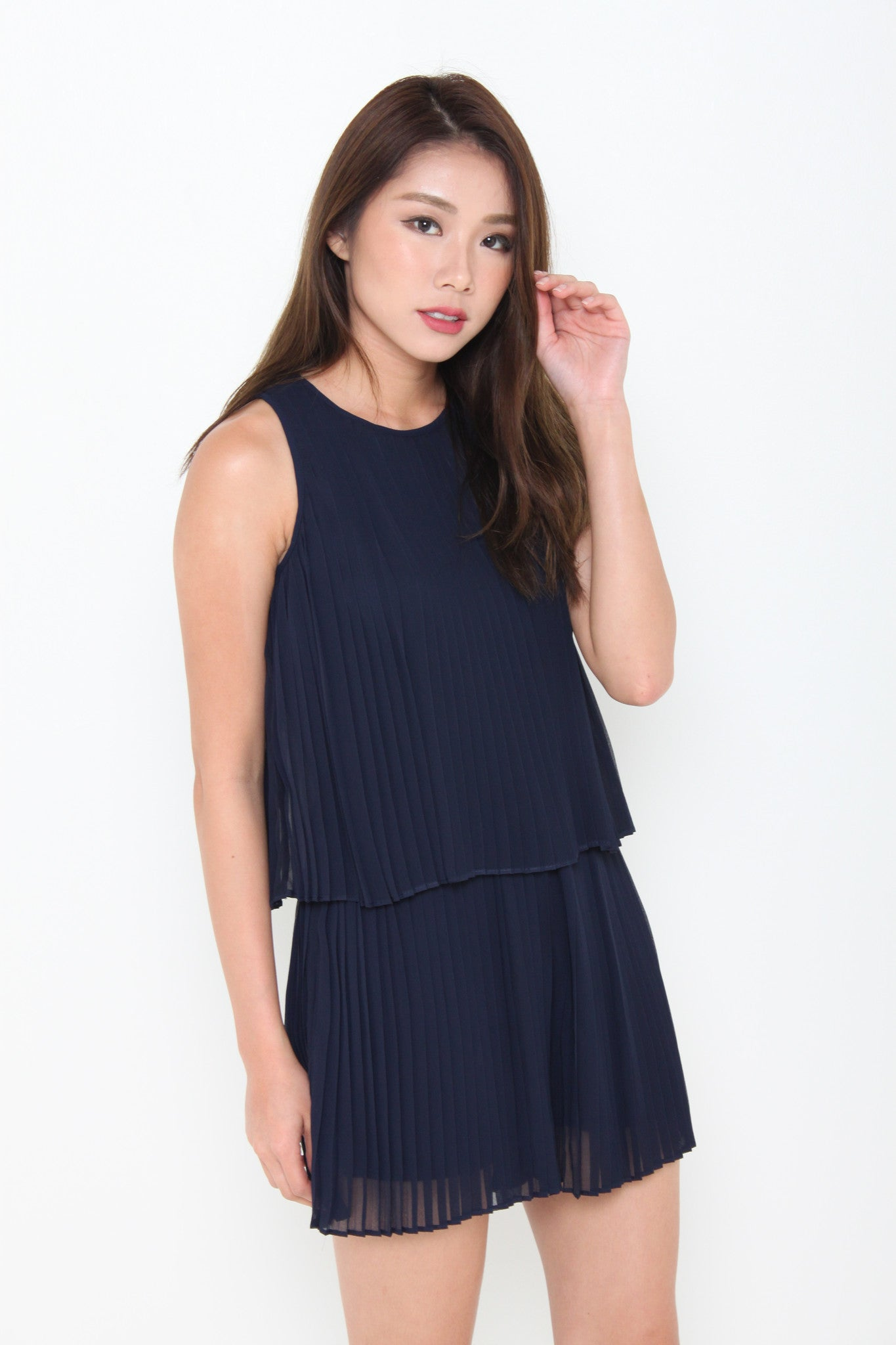 Cami Pleat Crop Romper in Navy Blue