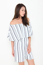 Load image into Gallery viewer, Aggie Stripe Off Shoulder Romper in Light Blue