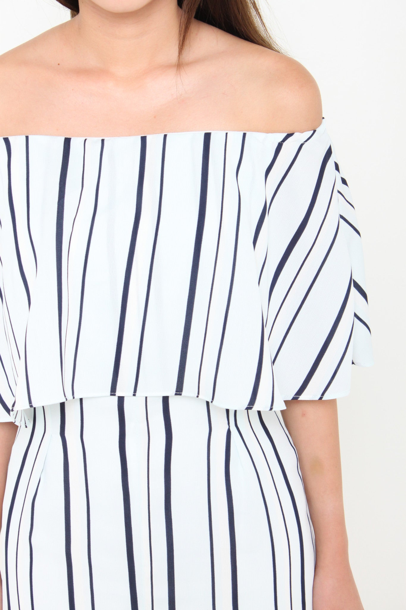 Aggie Stripe Off Shoulder Romper in Light Blue