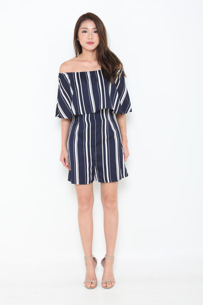 Aggie Stripe Off Shoulder Romper in Navy Blue