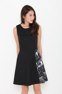 Bernice Graffiti-Side Pleat Dress in Black
