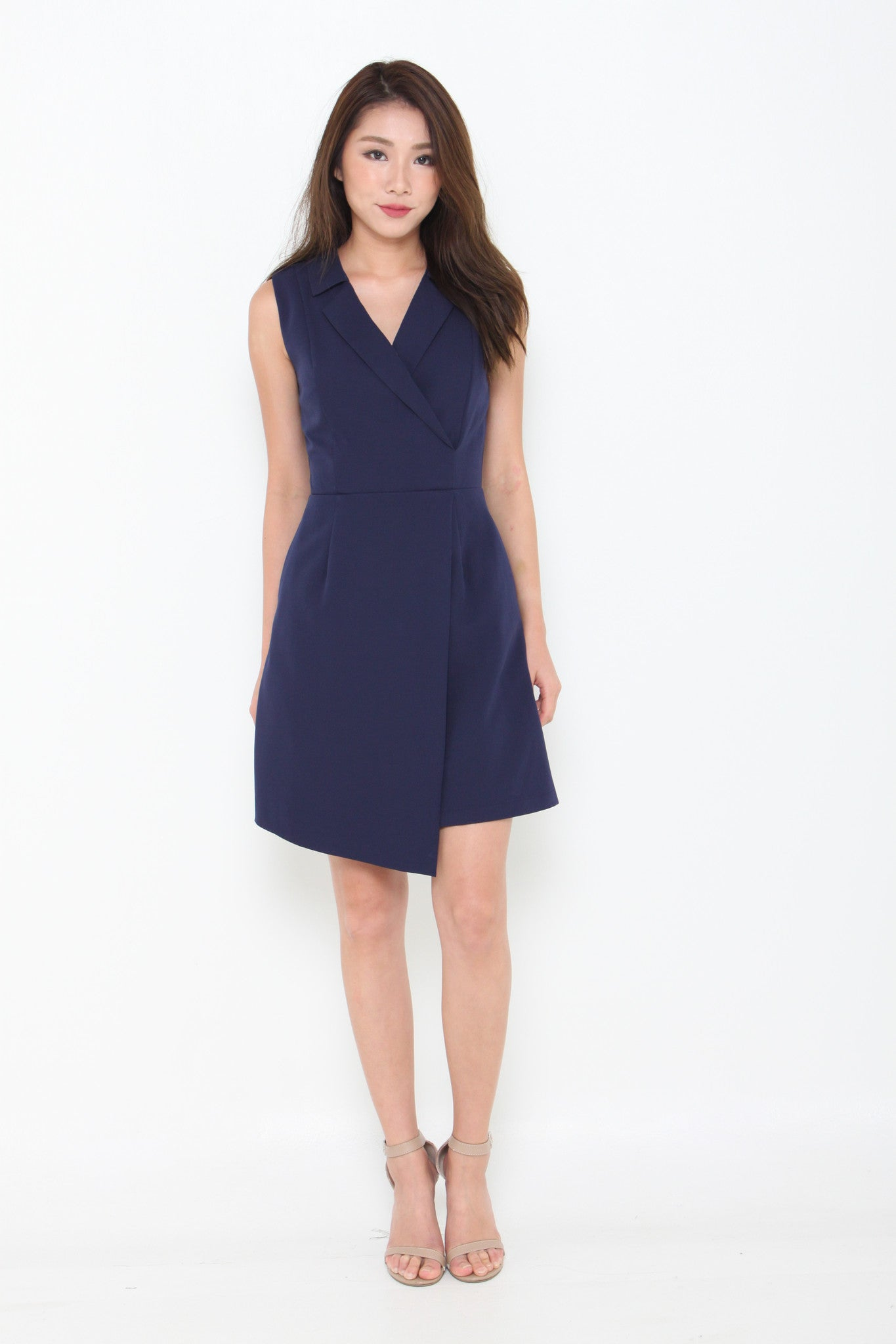 Kiki Overlap Trench Dress in Navy Blue
