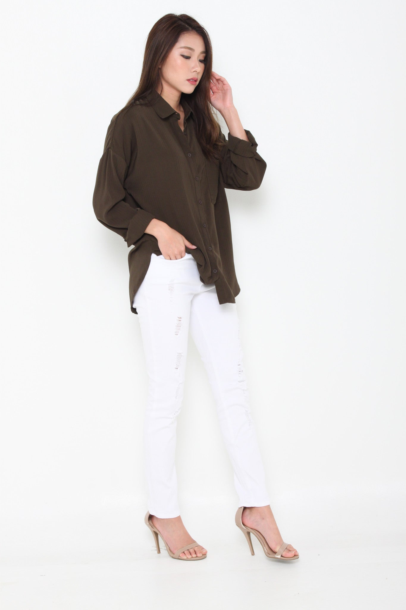 Venus Texture Line Pocket Shirt in Green