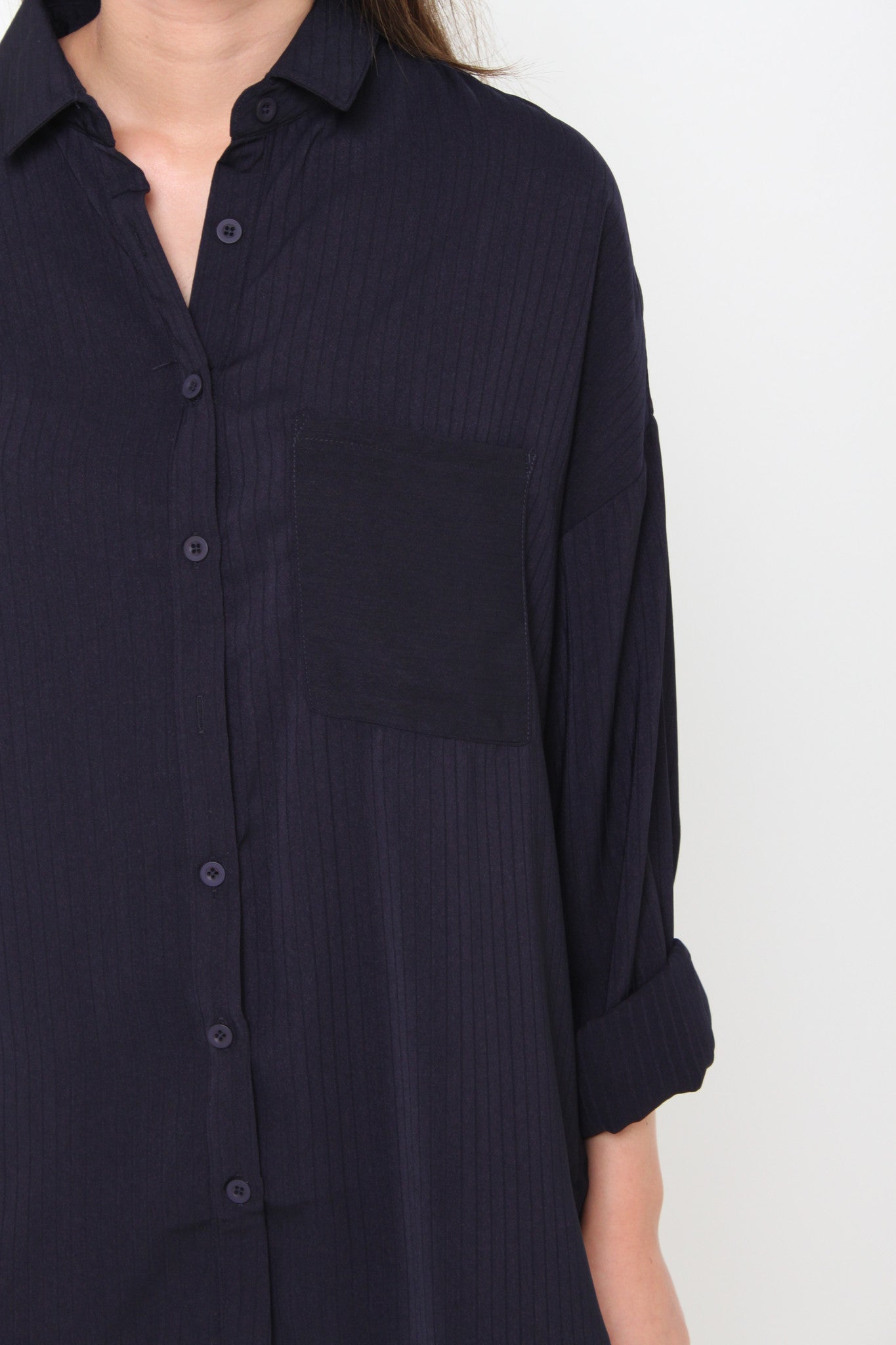 Venus Texture Line Pocket Shirt in Blue