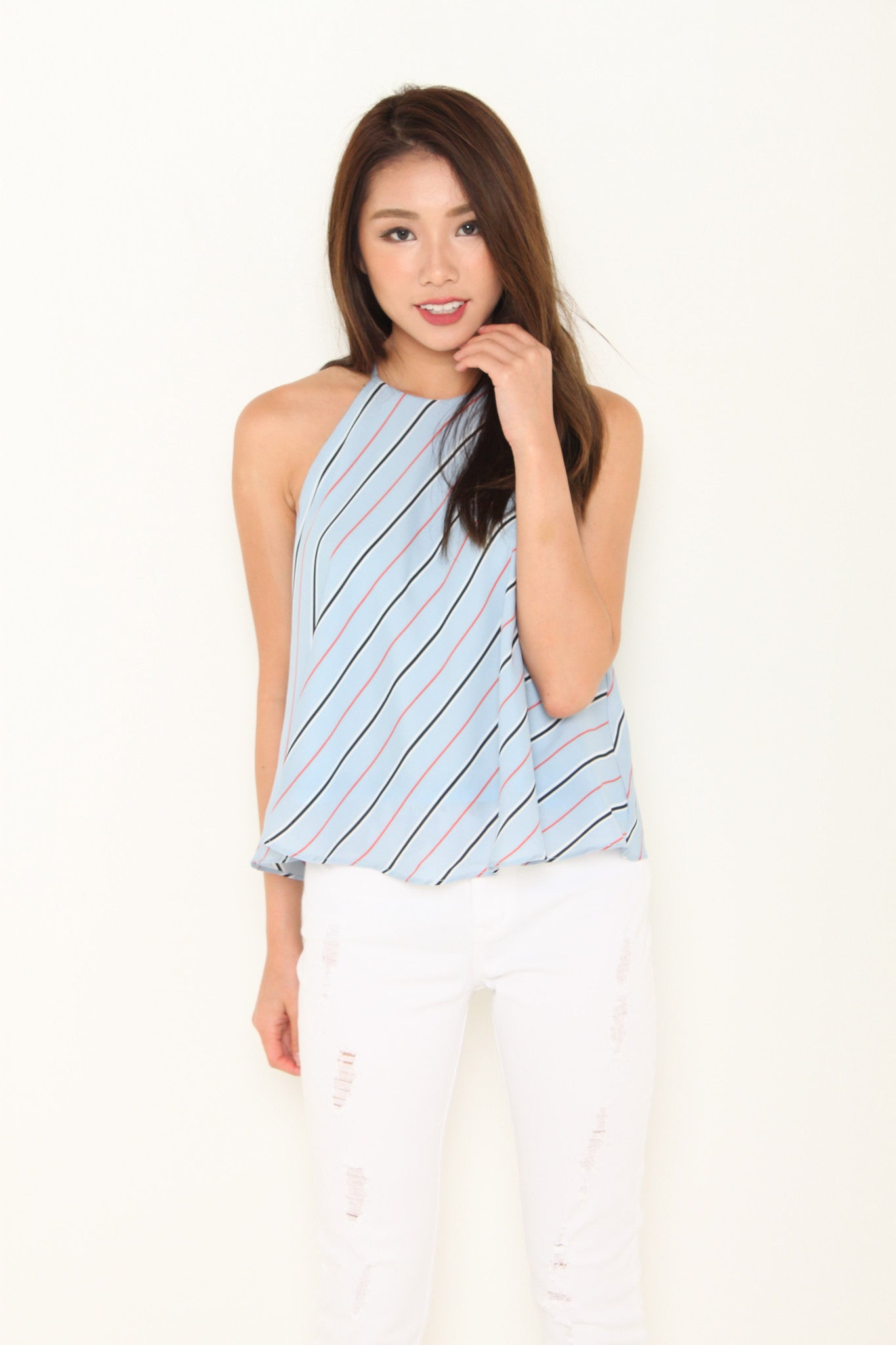 Isa Stripe Cut In Flare Top in Light Blue