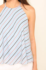 Load image into Gallery viewer, Isa Stripe Cut In Flare Top in Light Blue