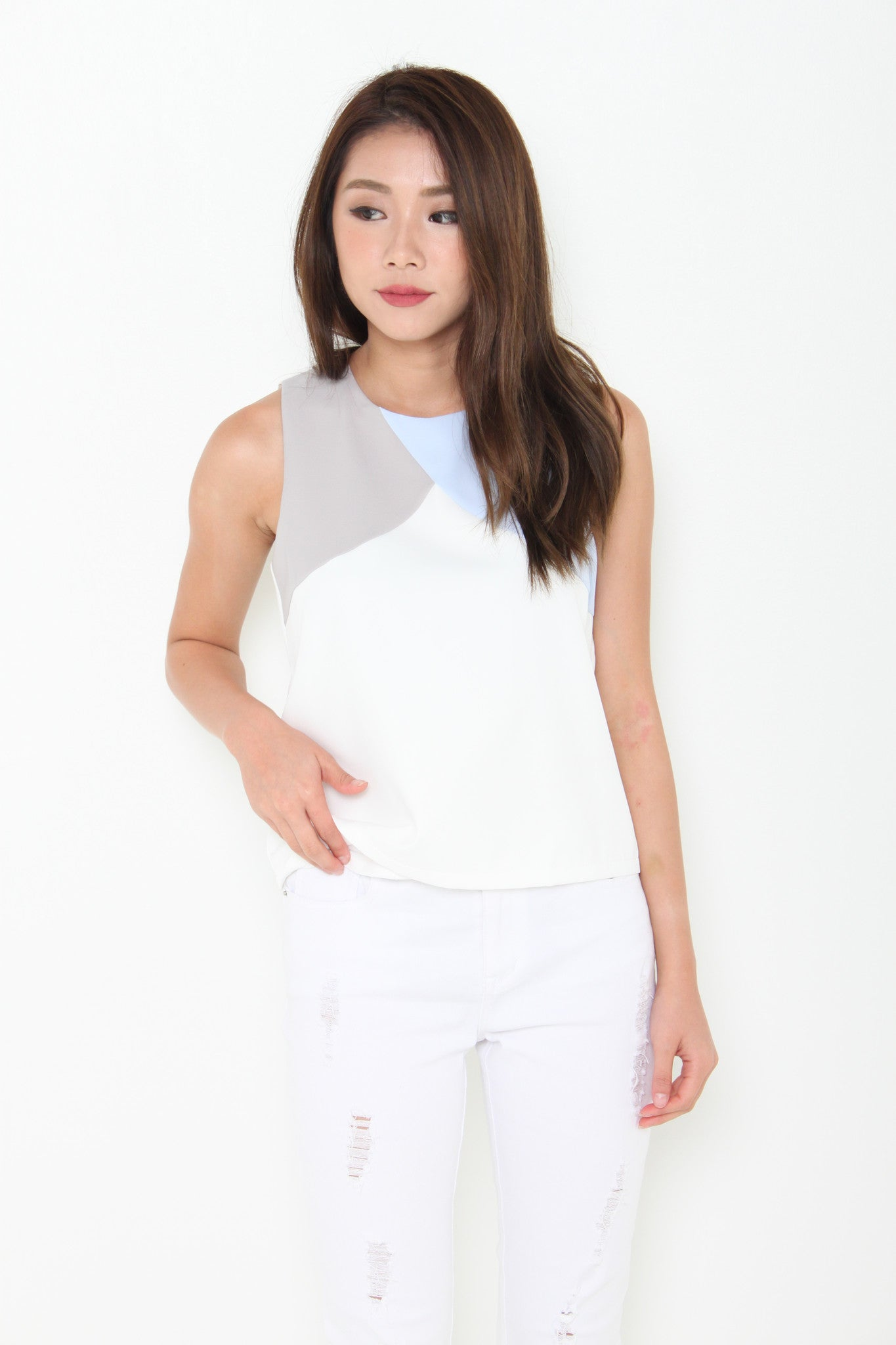 Ricki Colour Block Top in Blue/Grey