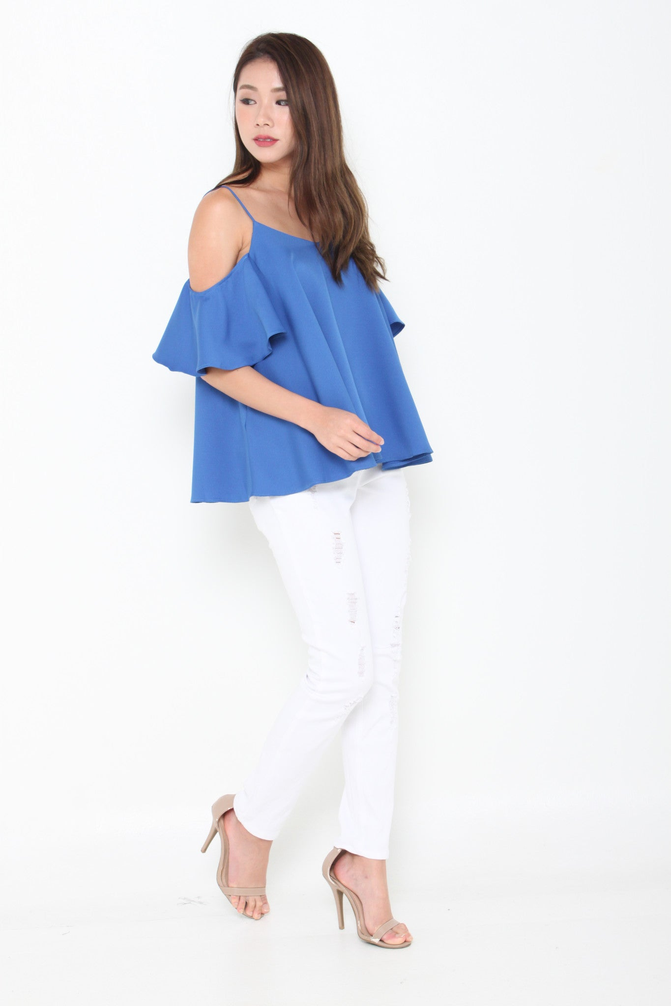 Lolita Ruffle Cold Shoulder Top in Blue