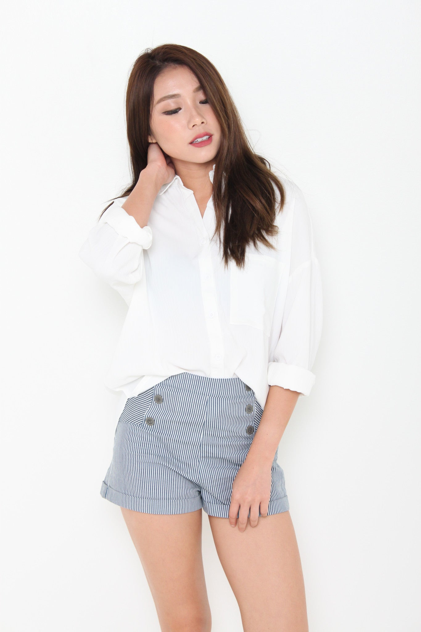 Venus Texture Line Pocket Shirt in White