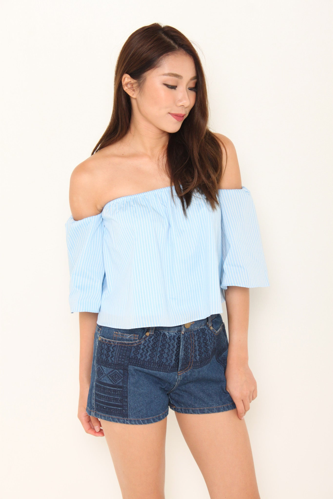 France Stripe Off Shoulder Top in Blue