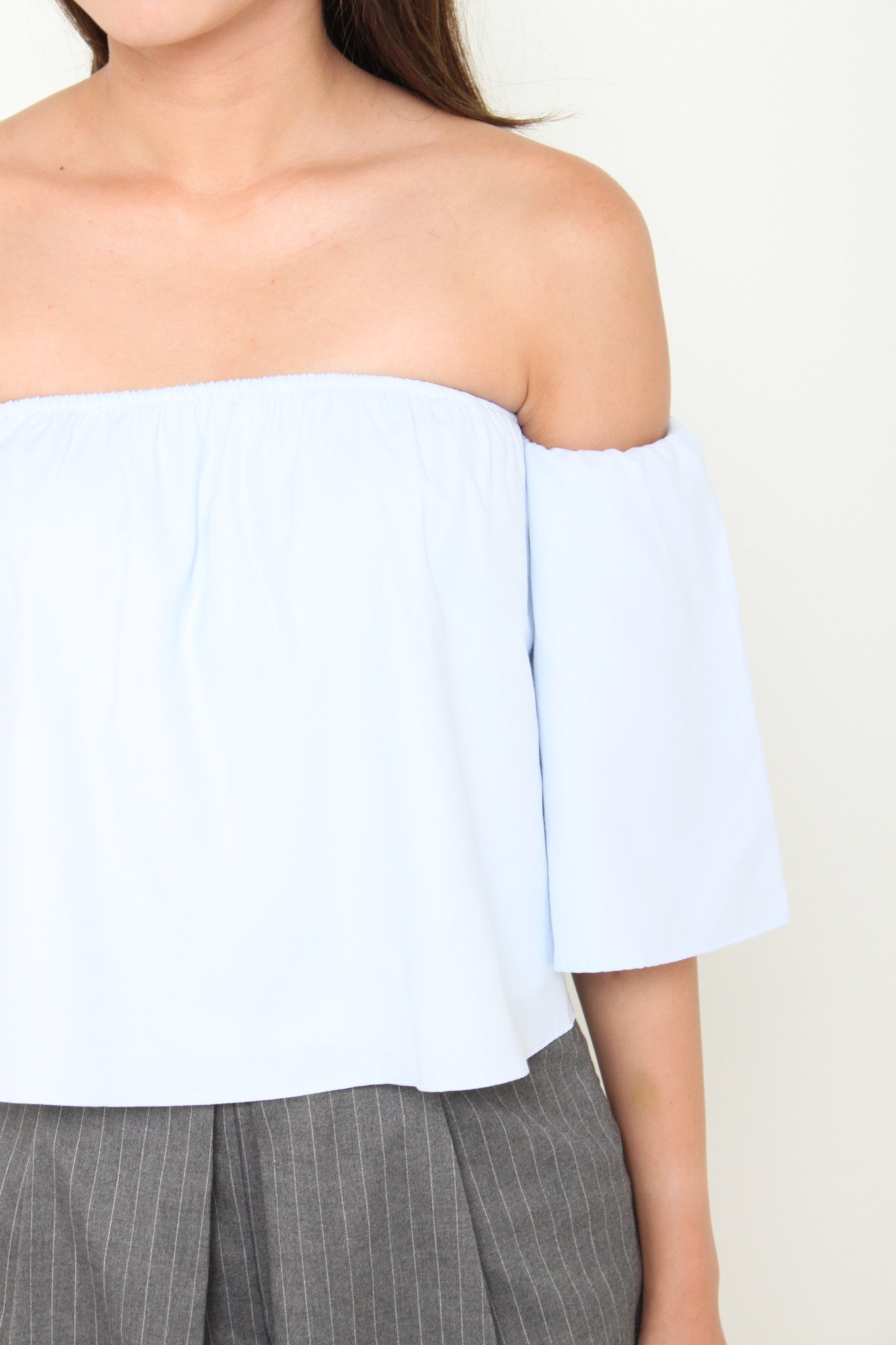 France Off Shoulder Top in Blue