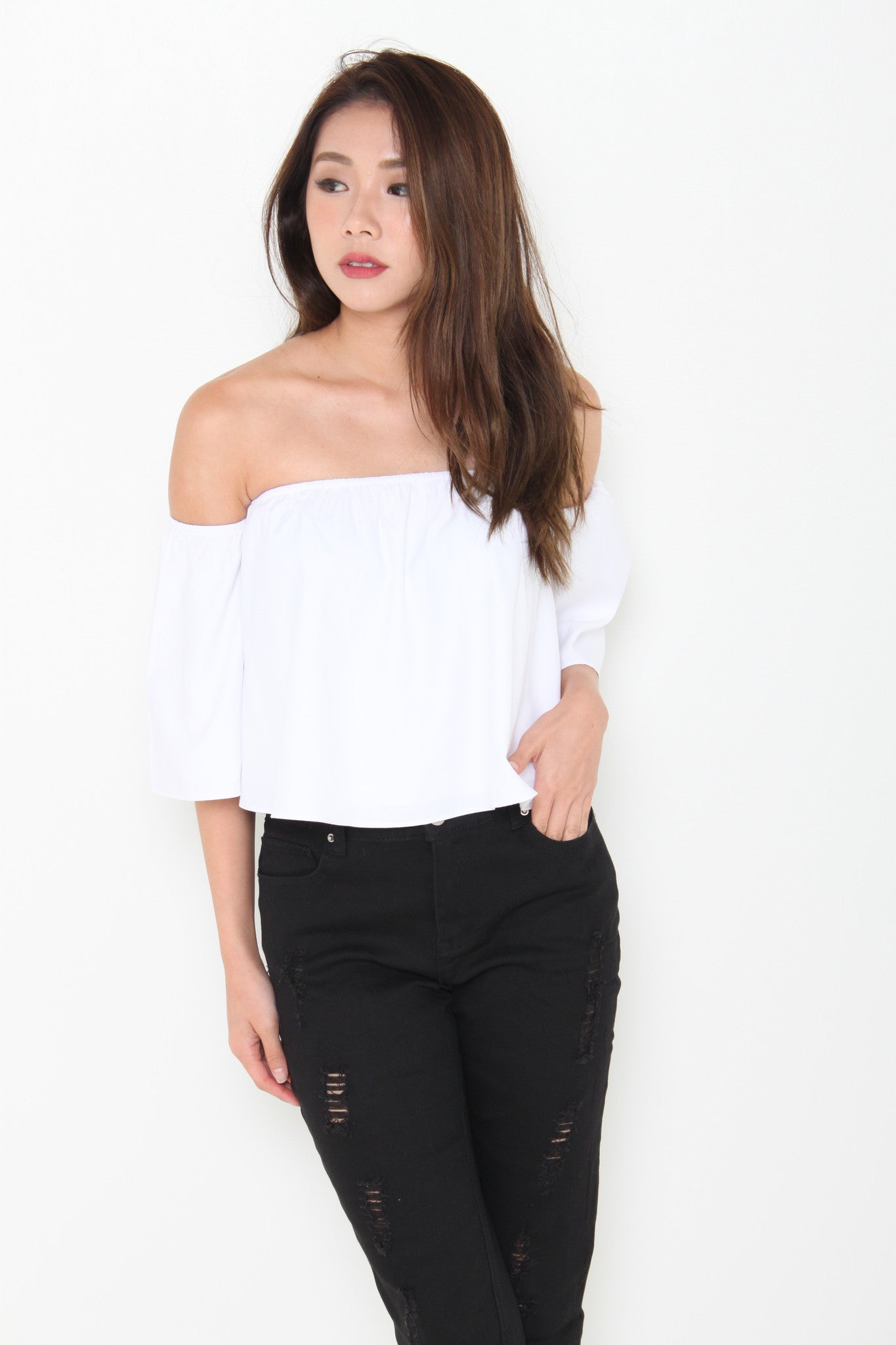 France Off Shoulder Top in White