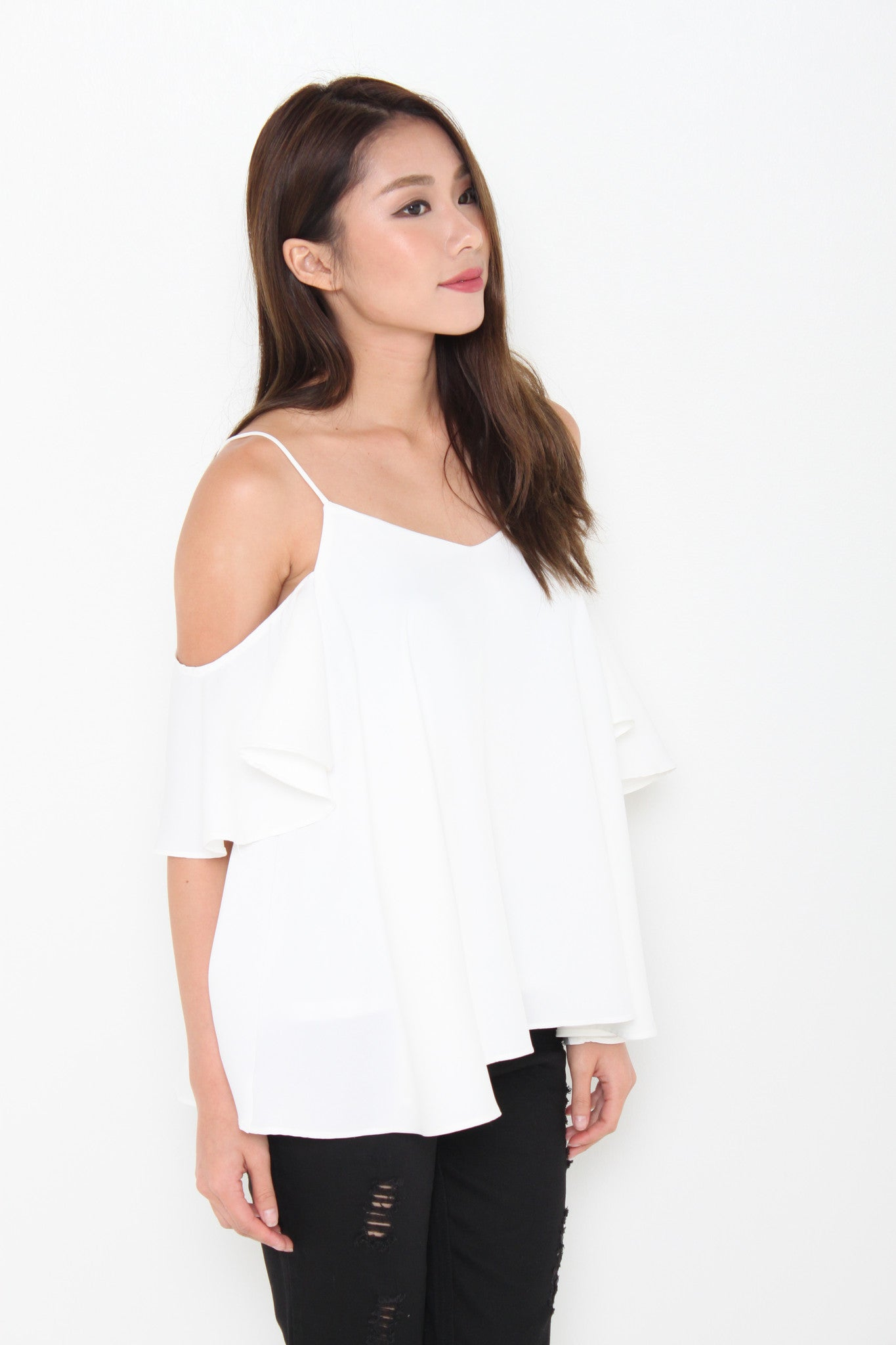 Lolita Ruffle Cold Shoulder Top in White