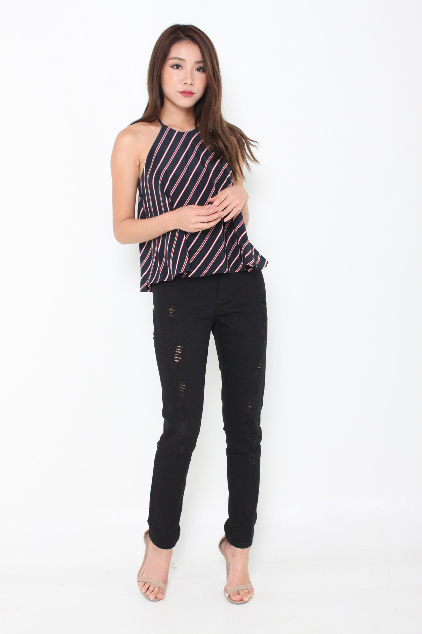 Isa Stripe Cut In Flare Top in Navy Blue