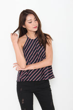 Load image into Gallery viewer, Isa Stripe Cut In Flare Top in Navy Blue