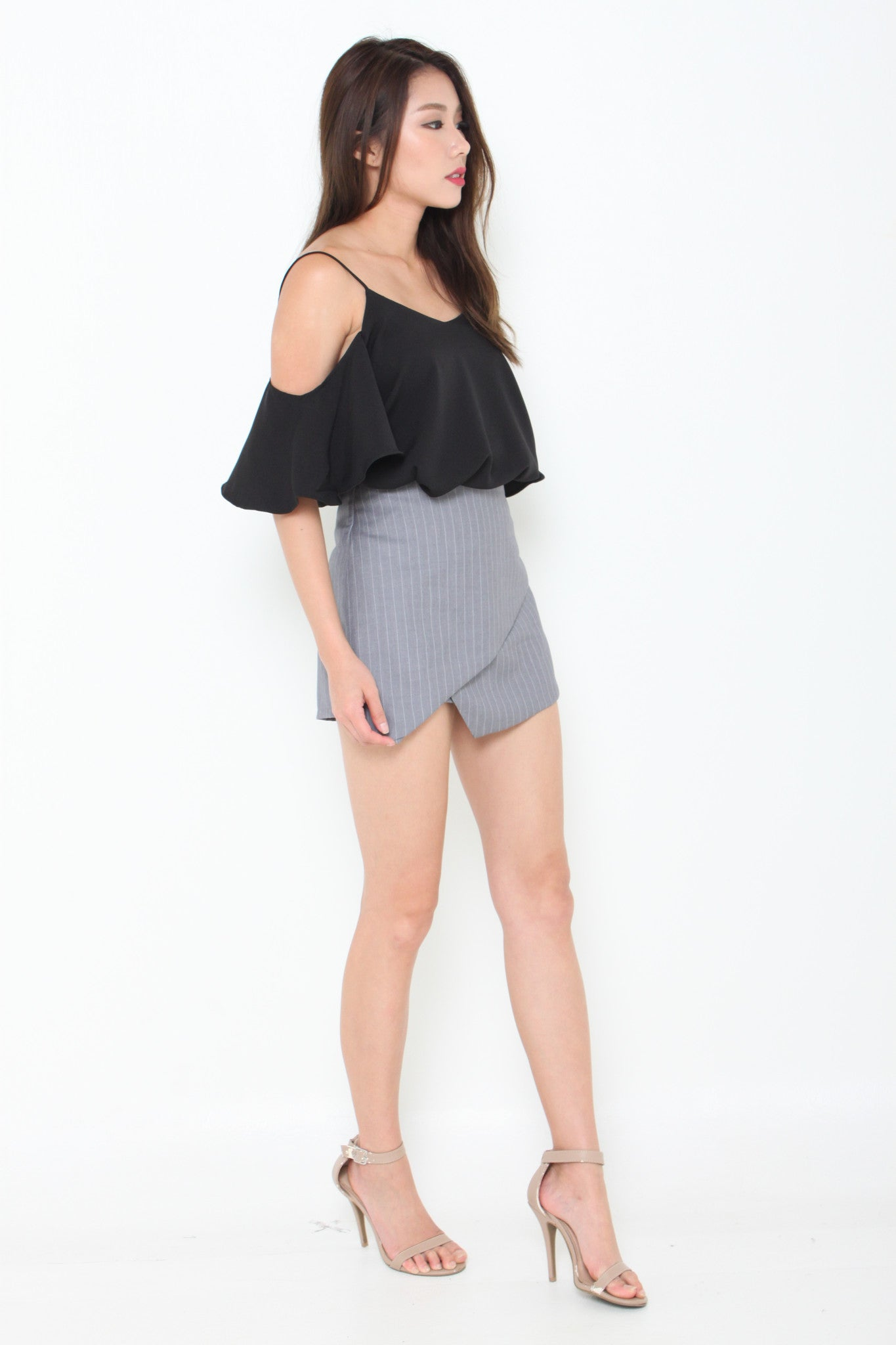 Lolita Ruffle Cold Shoulder Top in Black