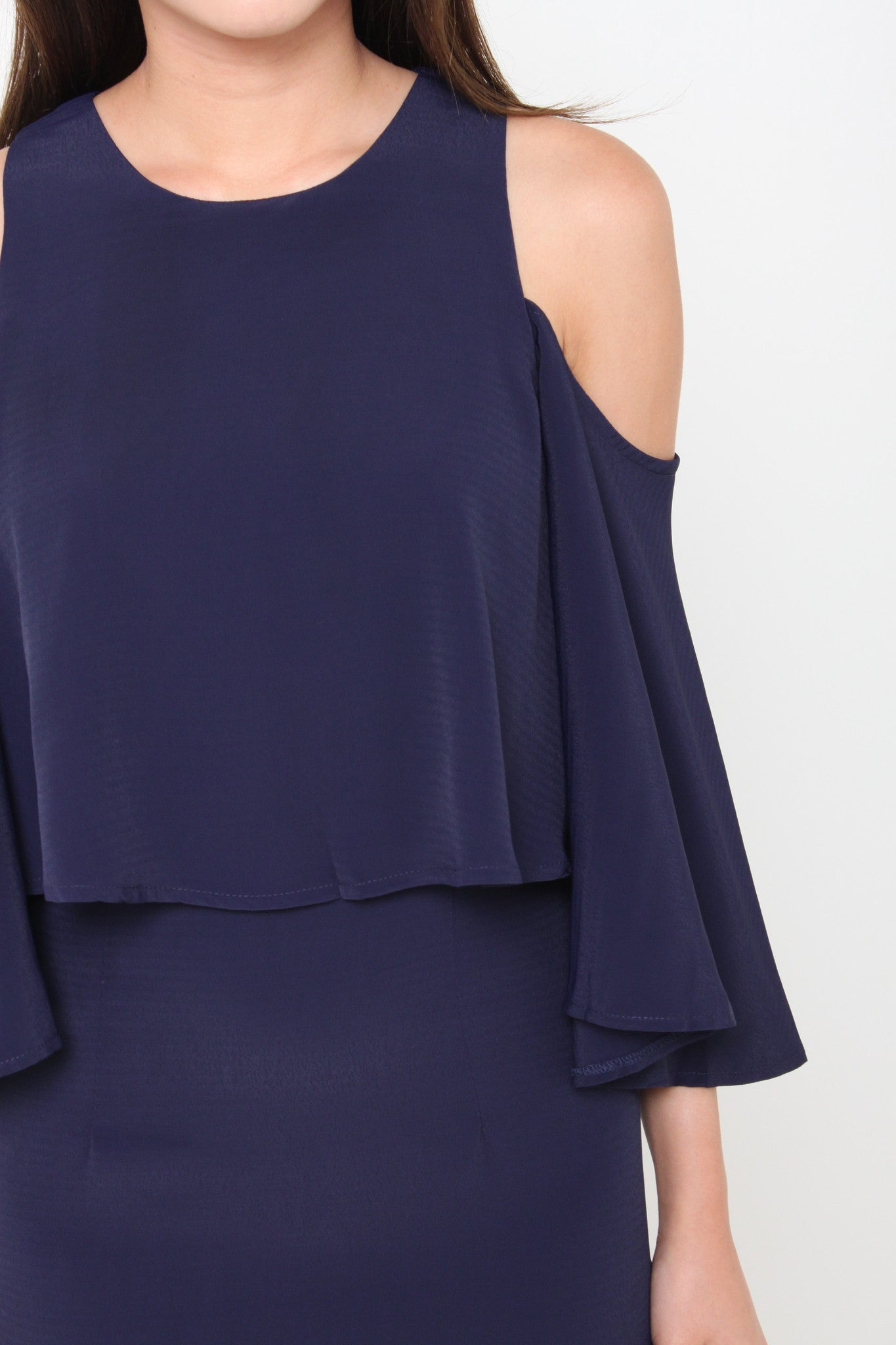 Lavender Cold Shoulder Crop Dress in Navy Blue